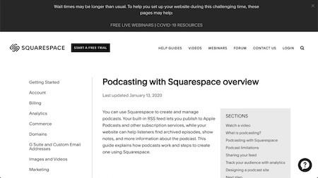 Squarespace Podcast host