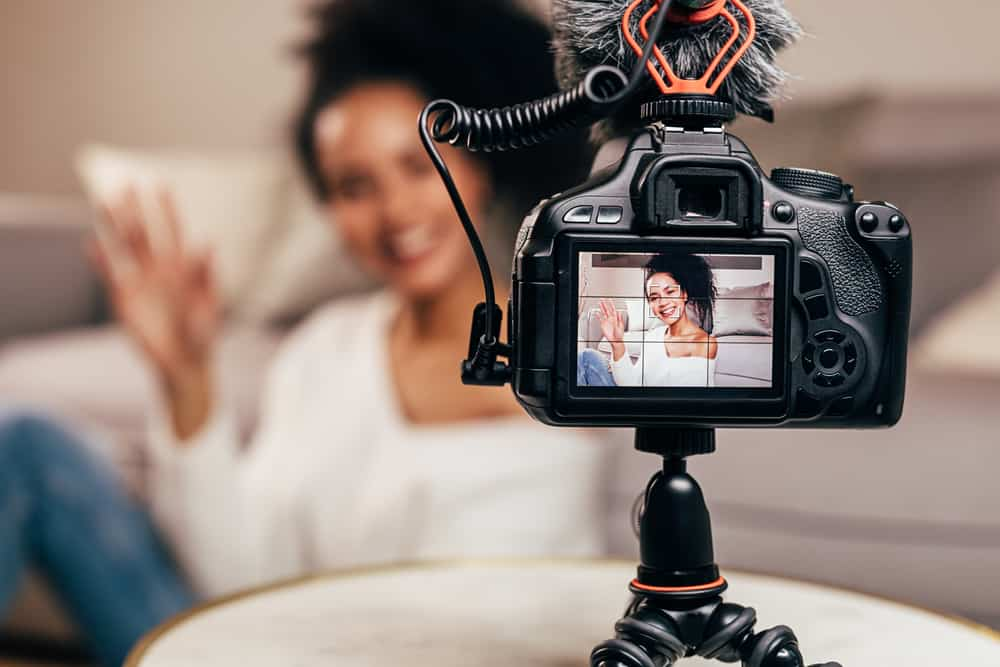 Vlogger recording content for her blo